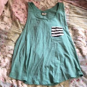 teal tank with striped pocket